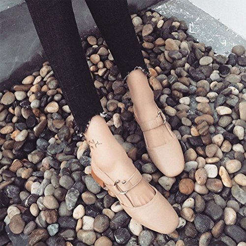 sandalias salvajes retro cabeza cuadrada boca baja con un solo zapato grueso con sandalias femeninas Baotou Pink