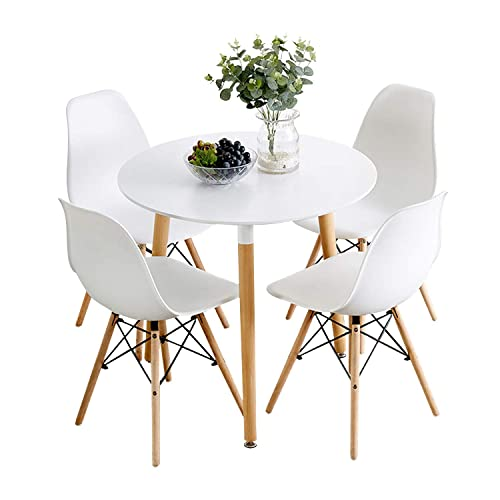 Nicemoods Kitchen Dining Table White Round Coffee Table Modern Leisure Wooden Tea Table,Home Easy-Assembly Office Conference Pedestal Desk 31.5×31.5 inches Set of 4 Dining Chairs Round White White