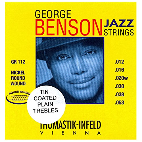 George Benson Guitar Strings (Thomastik GR112 Jazz Guitar Strings: George Benson 6 String Set - Pure Nickel Tin Coated Plated Trebles Round Wounds E, B, G, D, A, E Set)