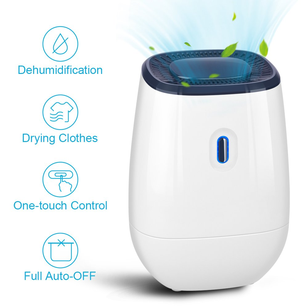 Trustech Dehumidifier - 41oz Capacity Electric Dehumidifier Portable Mini Air Dehumidifiers Auto Quiet up to 220 sq ft Anti Overflow Dehumidifier for Home Bathroom Bedroom Closet Office Basement