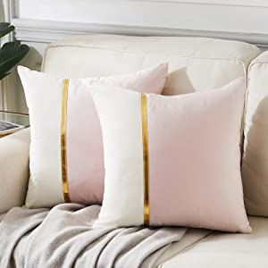 Fancy Homi 2 Packs Decorative Throw Pillow Covers 18x18 Inch for Living Room Couch Bedroom, Blush Pink and White Velvet Patchwork with Gold Leather, Luxury Modern Home Decor Cute Cushion Case 45x45 cm