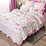 Brandream White and Pink Girls Comforter Set Kids Cartoon Bed Quilt Set Full Size