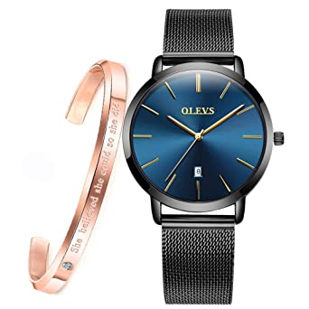 de053c18f Minimalist Ultra Thin Large Dial Wrist Watches for Women and Bracelet Gift  Set Rose Gold OLEVS