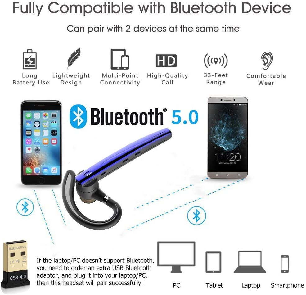 Office Driving Work For Iphone Samsung Android Cell Phones Blue B5 Handsfree Headset Earpiece Bluetooth V5 0 With Mic For Business Bluetooth Headset
