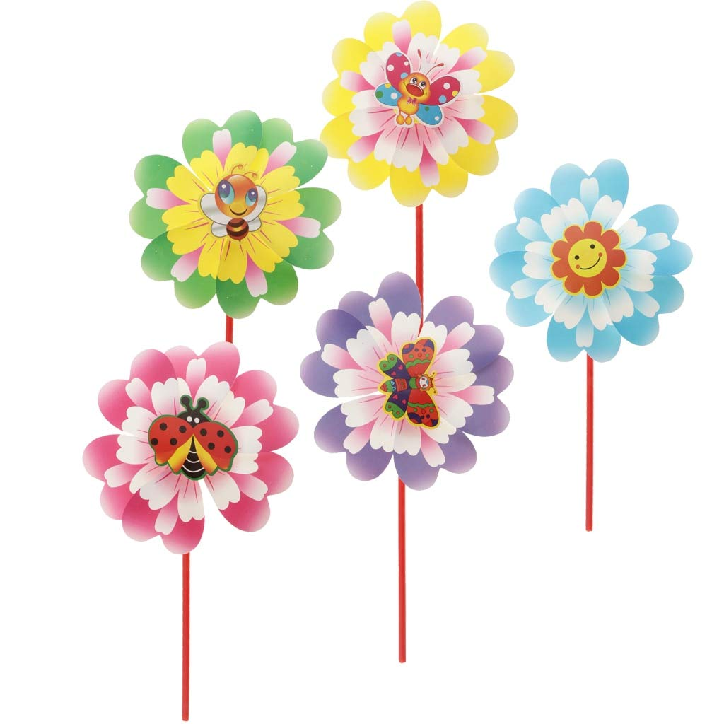 KathShop 10 Pieces of Peony Flower Pinwheels, Plastic Windmills with Insect Pattern, Garden Party Decor, s Toy