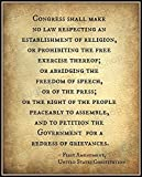The resounding words of the First Amendment to the US Constitution. Printed on Kodak Professional Endura Paper in a matte finish and mailed to you directly from the printer. Track & Confirm tracking numbers are provided at no additional charge. M...