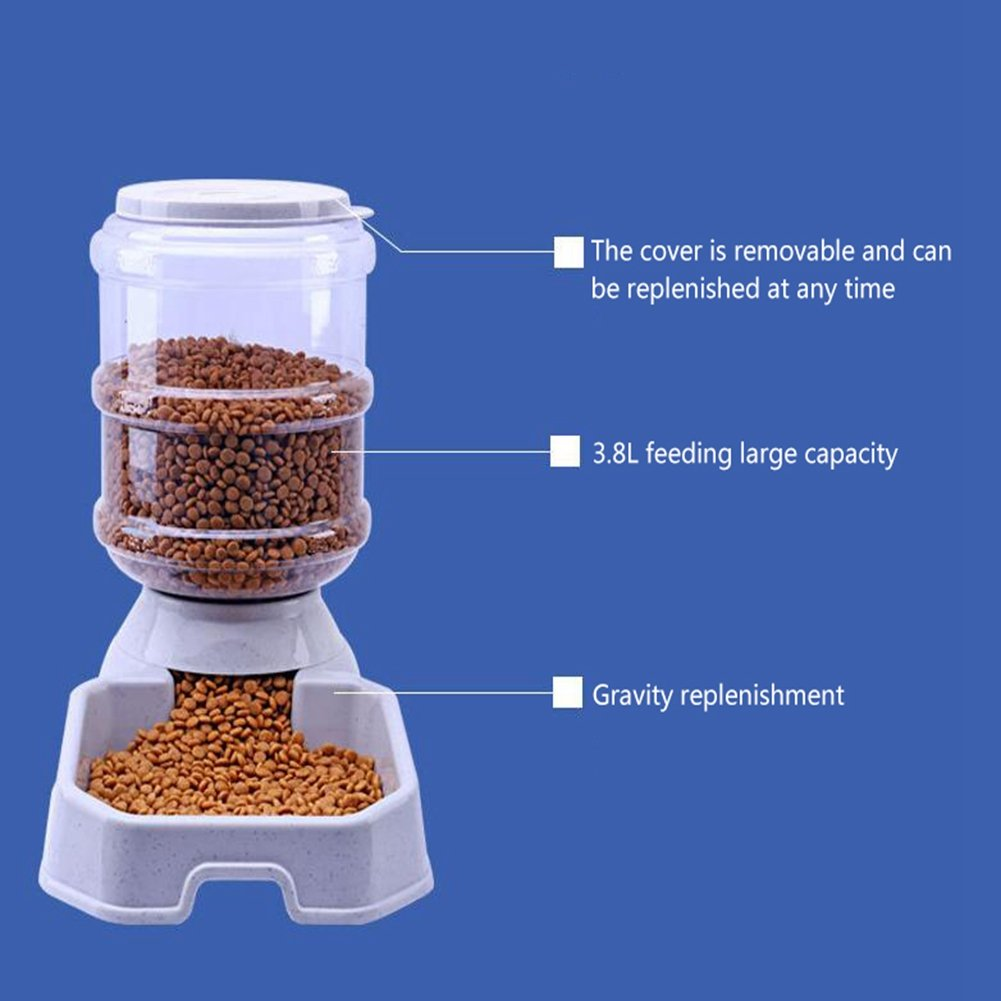 CW&T WW Pet Automatic Feeder Waterer Square3.8L Large Capacity Gravity Replenishment Dog Cat Food Dispenser,Beige by CW&T (Image #4)