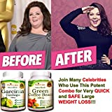 Garcinia Cambogia and Green Coffee Bean Extract Combo Weight Loss Supplements - 100% Pure - 70% HCA - 1000 mg Capsules, 120 Diet Pills - All Natural No Additives - Appetite Suppressant