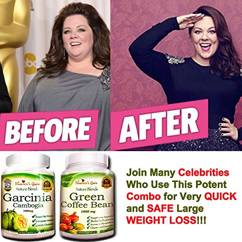 Garcinia Cambogia and Green Coffee Bean Extract Combo Weight Loss Supplements - 100% Pure - 70% HCA - 1000 mg Capsules, 120 Diet Pills - All Natural No Additives - Appetite Suppressant by Affordable Natural Health