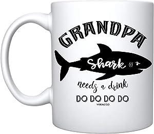 Veracco Grandpa Shark Needs a Drink Ceramic Coffee Mug Funny Shark Father's Day Gifts