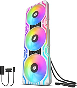 Asiahorse Matrix-White 58 Addressable RGB LEDs 360MM All-in-One Square Frame Integrated Fan with MB Sync/Analog Controller,Integrated PWM Control Fan for Computer Case and Liquid Cooling System