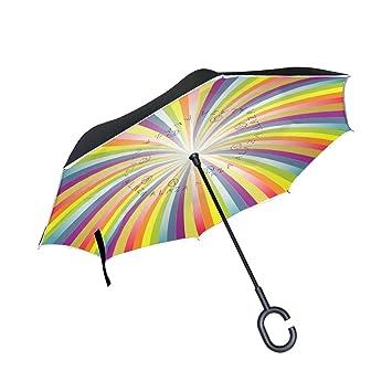 BENNIGIRY Paraguas de Doble Capa con Impresión de Arcoíris Abstracto para el Coche, Superior Resistente