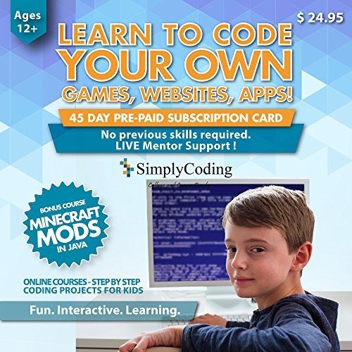 Simply Coding for Kids - Learn to Code - Program Computer Games, Websites, Apps, Minecraft Mods (Ages 12+) - Programming Animation Design Software - Pre-Paid Gift Card (PC & Mac) -