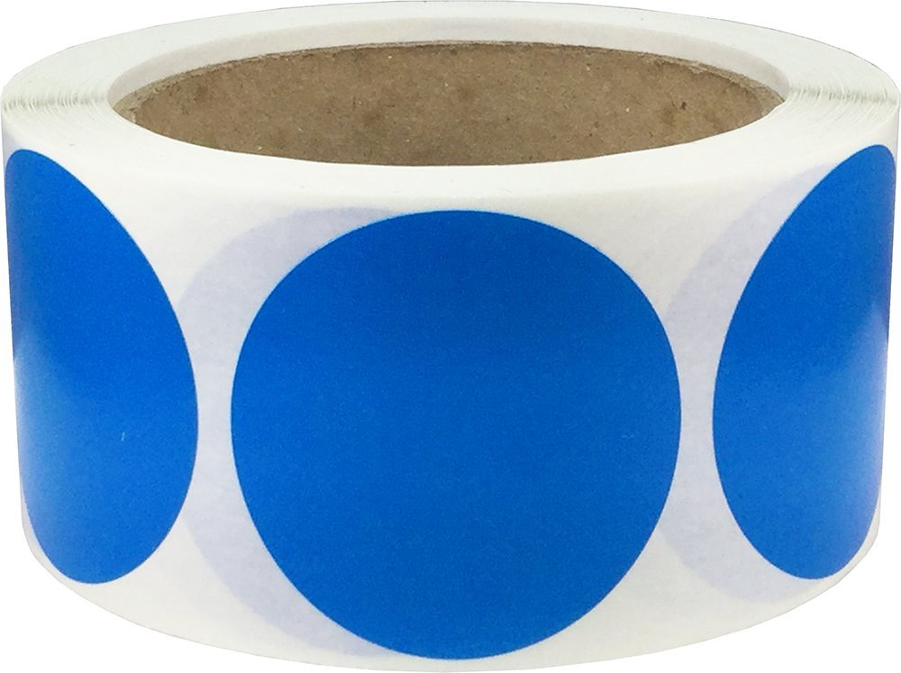 Blue Color Coding Labels Round Circle Dots 2 Inch 500 Total Adhesive Stickers