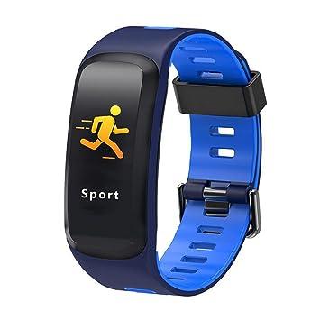 ... del Ritmo Cardíaco Correa De Silicona De Dos Colores Pasos Pantalla Táctil En Color De Movimiento Reloj Inteligente (Color : Azul): Amazon.es: Hogar