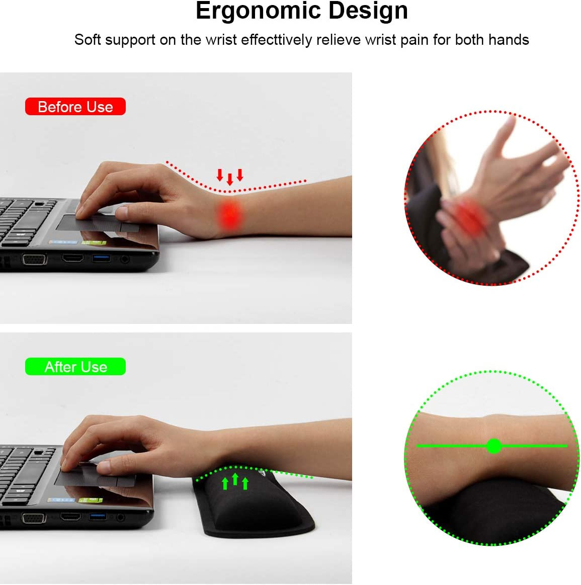 VECUU Keyboard Wrist Rest with Ergonomic Raised Memory Foam for Easy Typing /& Pain Relief Anti-Slip Wrist Support Suit for Computer Black Office PC Gaming Laptop