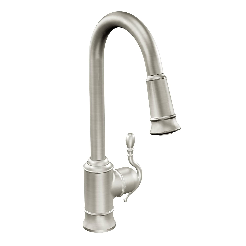 Moen 7615SRS Woodmere e Handle High Arc Pulldown Kitchen Faucet