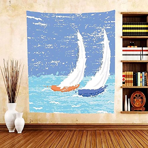 Gzhihine Custom tapestry Sailboat Nautical Decor Tapestry Small Yacht Sailboat on Lake Michigan at Sunset Nautical Serenity Maritime Culture Bedroom Living Room Dorm Decor 60 x 80 - Michigan City Outlets Prime