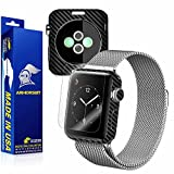 ArmorSuit MilitaryShield - Apple Watch 38mm (Series 2) Black Carbon Fiber Skin Back Protector Film + Anti-Bubble HD Clear Screen Protector For Apple Watch 38mm (Series 2)
