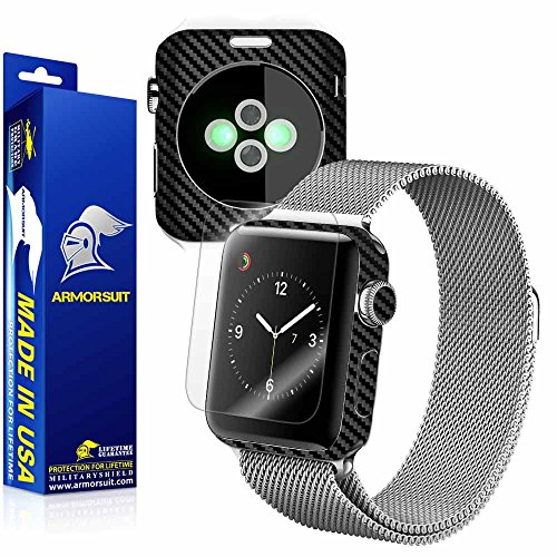 ArmorSuit MilitaryShield - Apple Watch 38mm (Series 2) Black Carbon Fiber Skin Back Protector Film + Anti-Bubble HD Clear Screen Protector For Apple Watch 38mm (Series 2) by ArmorSuit