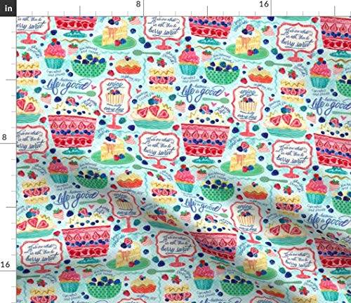 (Watercolor Sweets Fabric - Berry Sweet Desserts Berries Fruit Raspberries Strawberries Blackberries Print on Fabric by the Yard - Basketweave Cotton Canvas for Upholstery Home Decor Bottomweight)