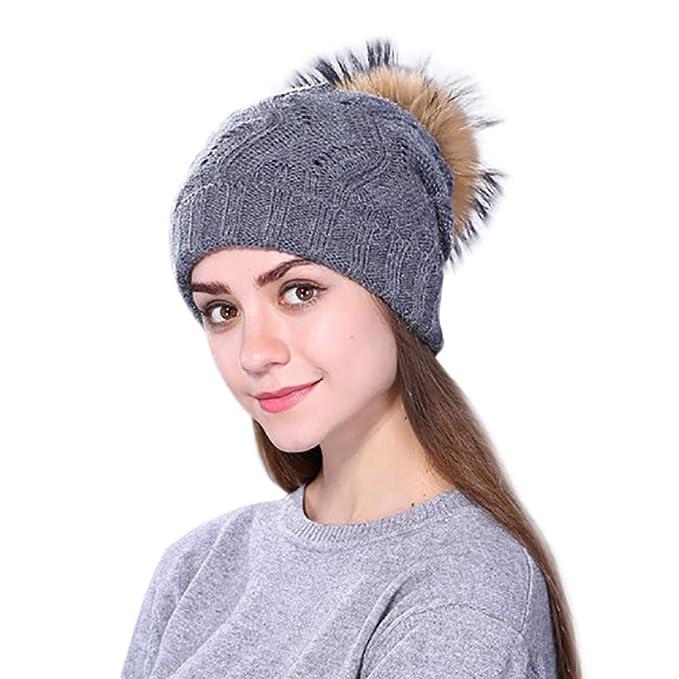 Mütze Strickmütze Wintermütze Damenmütze Fleecemütze mit Kunstfellbommel NEU