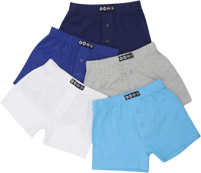 M/&Co Boys Cotton Blend Plain Multi-Coloured Stretch Waist Button Detail Boxers Five Pack