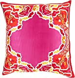 22'' Pink and Red Floral Pattern Woven Decorative Square Knife Edge Throw Pillow