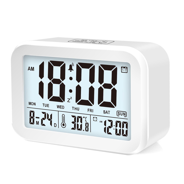 Honway Digital Alarm Clock, Smart Talking LED Alarm Clock with 3 Alarm Mode & 7 Alarm bells, Sensor Light, Large Display, Snooze, Date, Temperature and More (Blue)