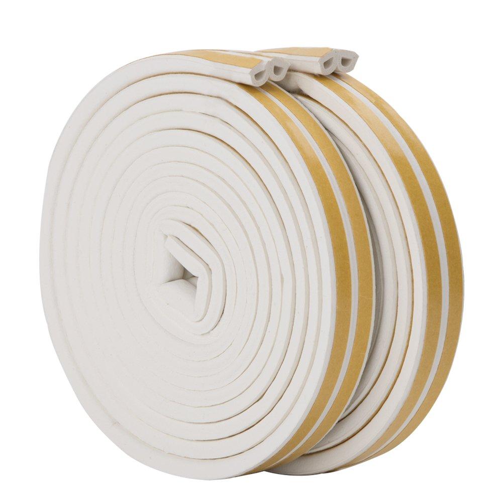 Blanc Imperm/éable Anticollision Feelava Joint de porte en mousse Bande de joint d/étanch/éit/é en caoutchouc- 2 Rouleaux 10 m au total Bande de Joint D-Profil Auto-Adh/ésif