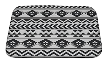 Amazoncom Gear New Aztec Tribal Black And White Bath Mat Rug