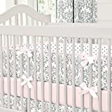 Carousel Designs Pink and Gray Traditions Crib Bumper