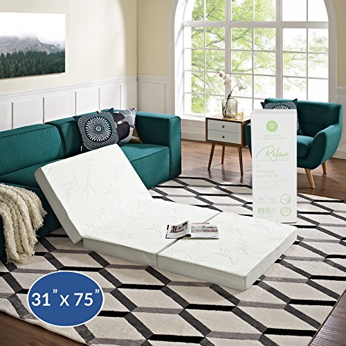 "Modway 4"" Relax Tri-Fold Mattress CertiPUR-US Certified with Soft Removable Cover and Non-Slip Bottom (31' x 75"") - 10-Year Warranty"