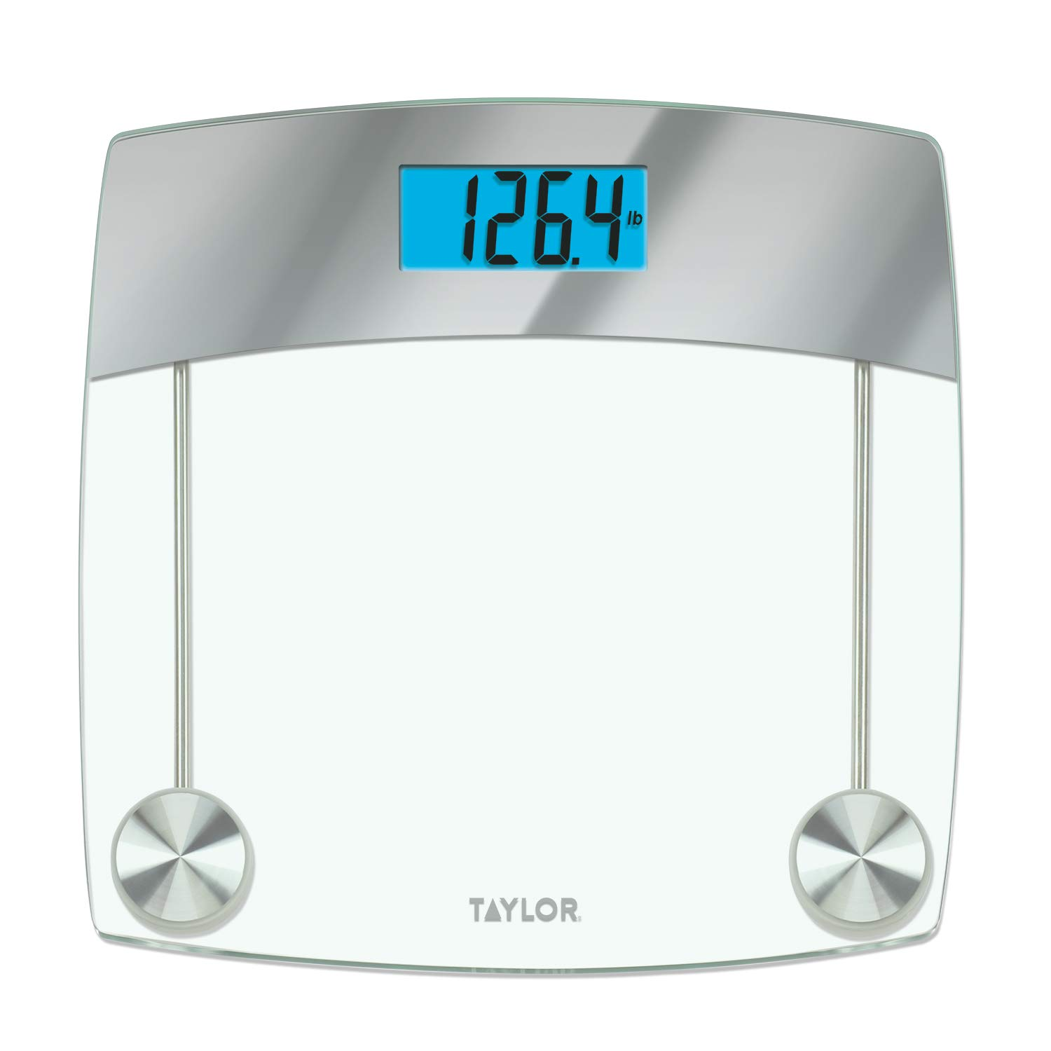 Taylor Digital 440lb Capacity Digital Bathroom Scale Clear Mirrored Accents Glass