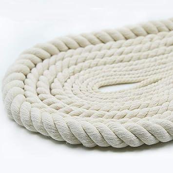 6 Mm Cuerda Trenzada Gruesa Hilo De Algodón Trenzado Decoración Cuerda Blanco Paquete De Torsión Blanco 10 M De Espesor: Amazon.es: Deportes y aire libre