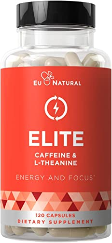 Elite Caffeine with L-Theanine Jitter-Free Focused Energy Pills Natural Nootropic Stack for Smart Cognitive Performance 120 Soft Capsules