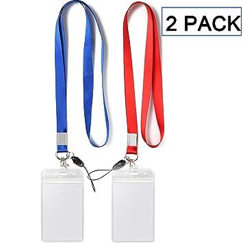 Amazon.com: Paquete de 2 ID Badge Holders con rojo Cordones ...