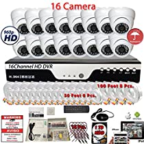 Evertech 16 Channel HD DVR w/ 16 pcs 4in1 AHD TVI CVI ANALOG 960P Wide Angle Fixed Iris Lense Dome HD CCTV Home Security Camera System Set w/ 1TB Hard Drive