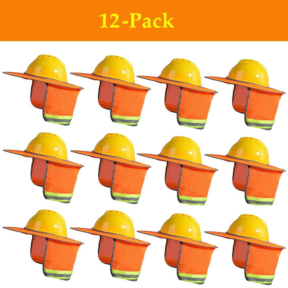 HAoho 12 Packs Hard Hat Orange Sun Shield with Neck Shield, Full Brim Mesh Neck Sunshade, Design of Riser vent and reflective strip - Fits Full & Standard Brim Safety Helmets for Construction