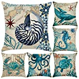6 Pack Cotton Linen Mediterranean Style Throw Pillow Case,Ocean Theme Decorative Square Cushion Cover 18' x 18'(Cover Only,No Insert) (Sea Theme 1)