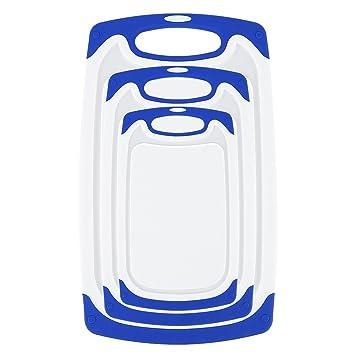 Whitgo Tablas de Cortar de plástico Conjunto de 3, lavavajillas Tabla de Cortar Segura Reversible