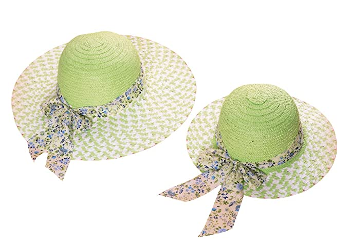 ACVIP Mom and Daughter s Matching Summer Ribbon Sun Hat 4 Colors (Green) 3e73ac109e61