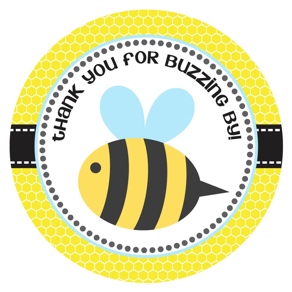 Set of 30 Bee Thank You Sticker Labels for Children Kids Birthday or Baby Shower Party Favors