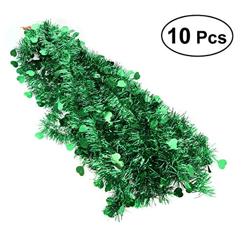BESTOYARD 10Pcs Festooning Garland Metallic Sparkling Festival Hanging Decoration for Wedding Christmas (Green)