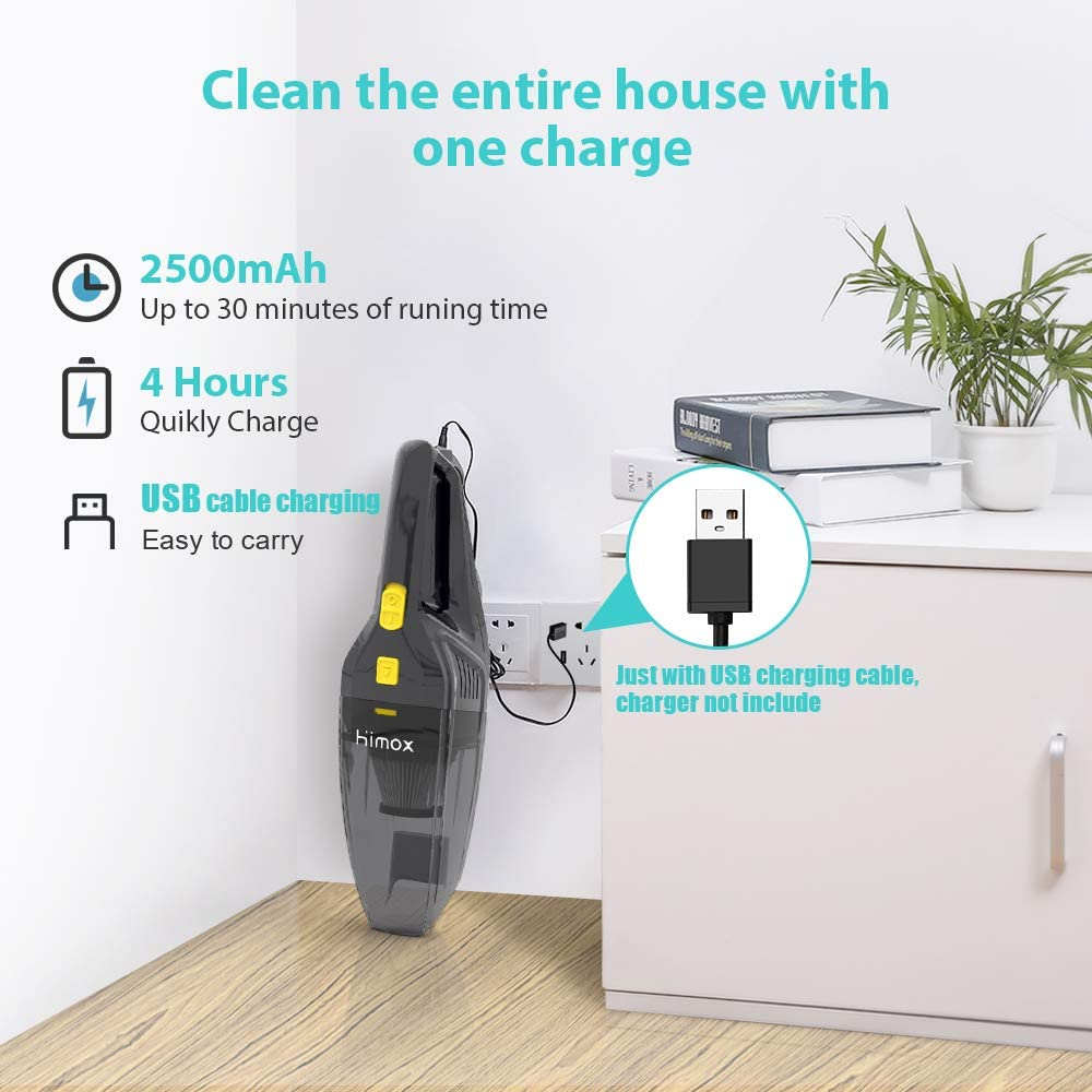 HIMOX 8000pa 120W Powerful Cyclonic Car Vacuum Rechargeable Quick Cordless Portable Hand Vacuums Cleaner with 2 Filters and 5 Attachments for Home Pet Hair Dust Cleaning