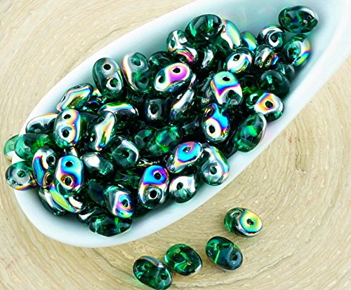 20g Crystal Emerald Green Dichroic Vitrail Half SUPERDUO Czech Glass Seed Beads Two Hole Super Duo 2.5mm x 5mm (Superduo Beads Emerald)