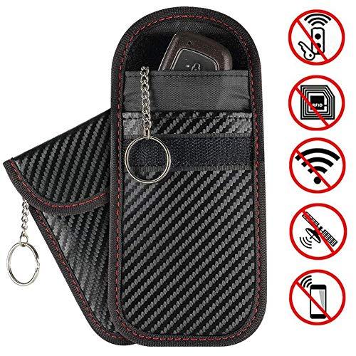 Car Key Signal Blocker Pouches Keyless Entry RFID Blocking Case for Car Keys and Credit Card Fob Guard/Anti Theft/WiFi NFC GSM LTE RF Block Faraday Pouch Bag (2 Pack)