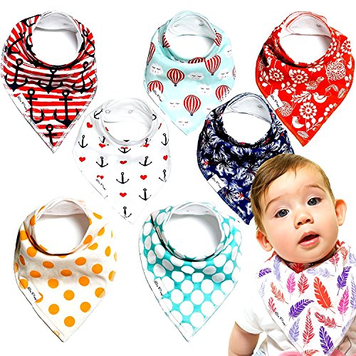 Fleece Single Stroller (Baby Bandana Drool Bibs - 100% Natural Organic Cotton with Fleece Back - Unisex 8-Pack Gift Set with Popular Nautical and Beach-Themed Designs for Boys and Girls | by So Peep)
