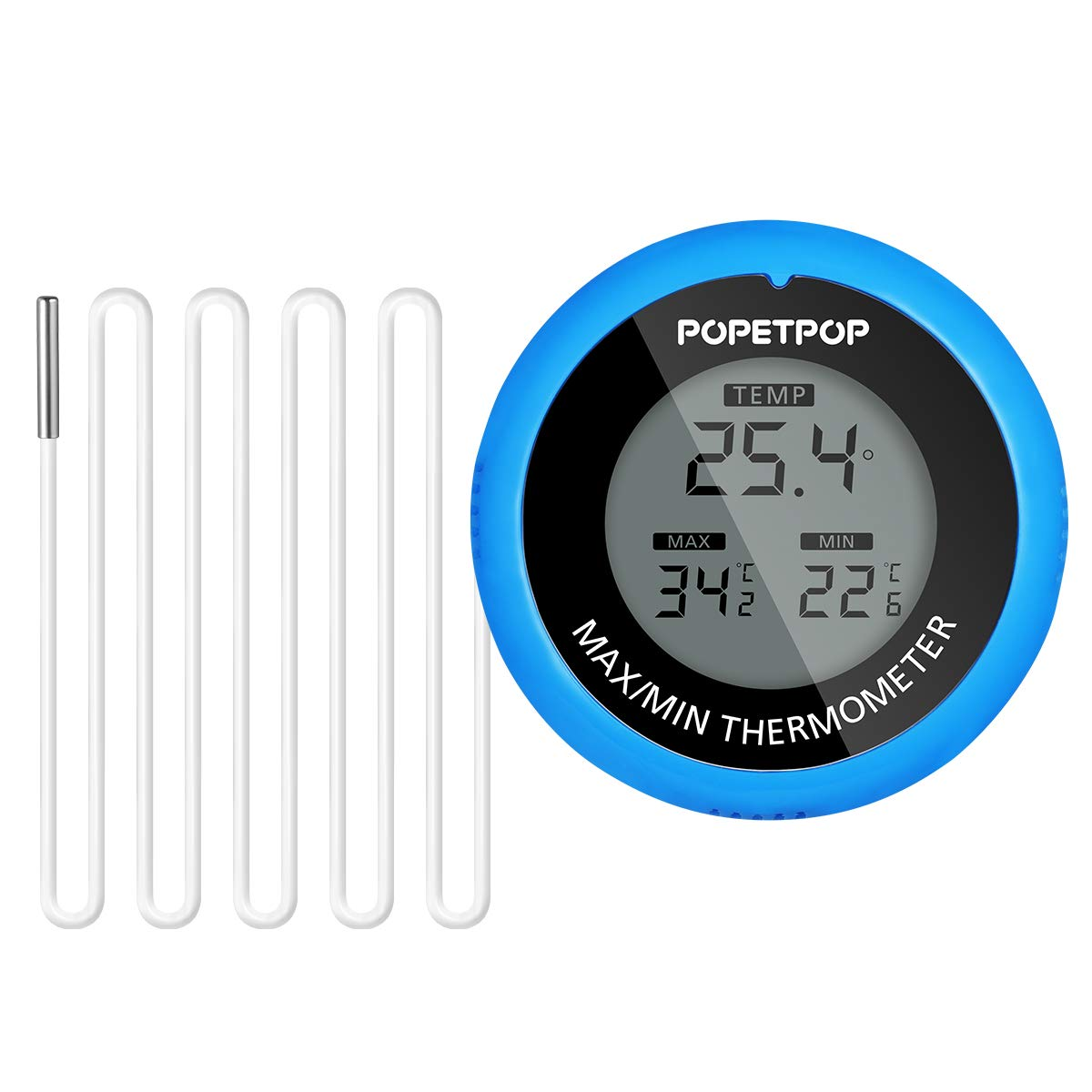 POPETPOP LCD Digital Aquarium Thermometer High Precision Digital Fish Tank Thermometer for Aquarium/Pond/Reptile Turtles Habitats (Blue) by POPETPOP