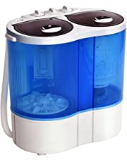 Giantex 15.4lbs Portable Mini Washing Machine Gravity Drain Compact Twin Tub Washer Spinner, Ideal for Dorms, Apartments, RVs, Camping